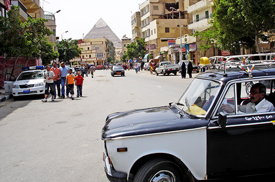 Old Cairo Taxi Beside Pyramids